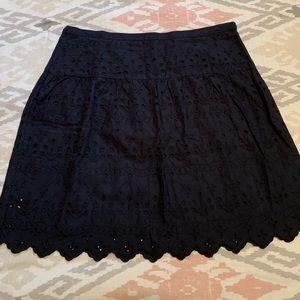Loft Navy Eyelet Skirt